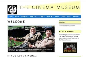 A section of The Cinema Museum Home Page