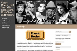 A section of the ClassicMovies.org Home Page