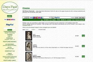 A section of the Days Past Home Page