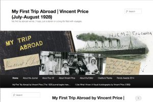 A section of the My First Trip Abroad, Vincent Price Home Page