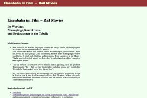 A section of the Eisenbahn in Film website Home Page