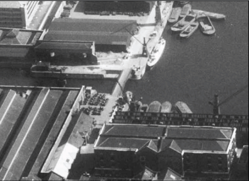 Aerial view of London Docks showing entrance, courtesy of Britain from Above