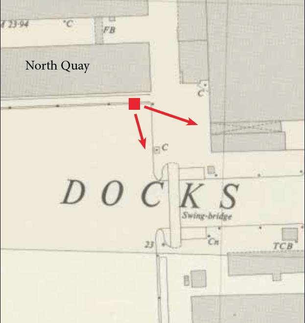 A map extract of the London Docks showing the view of a crane driver in a film screen capture.