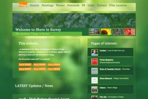 A section of Shere Village website front page.