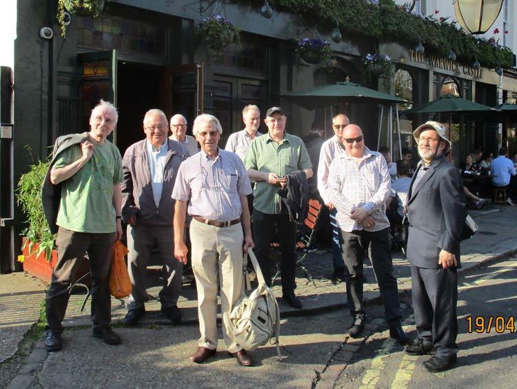 "A group of ""Reelstreeters"" outside the Warwick Castle pub."