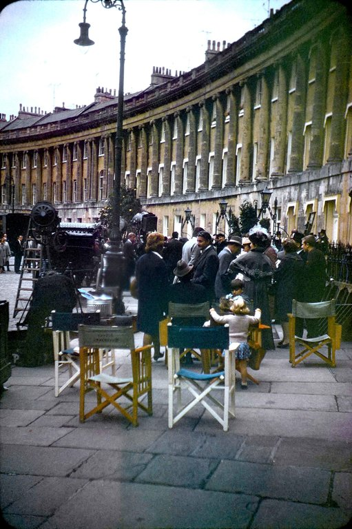 The film crew together with others 'on set' during the filming of The Wrong Box against part of the Royal Crescent, Bath.